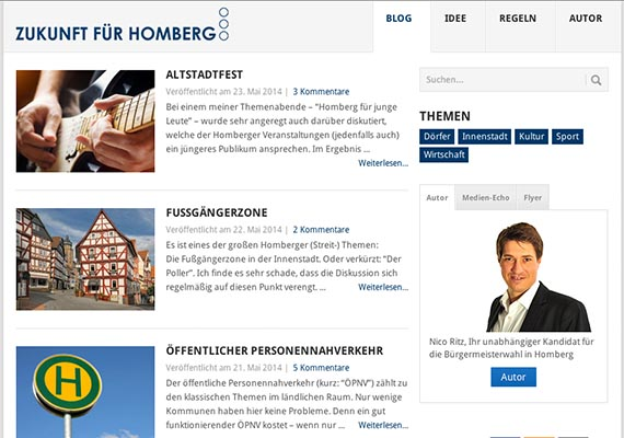 Some kind of newsblog used for the mayor-election campaign in Homberg/Efze